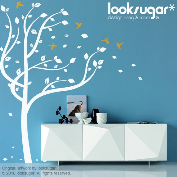 Tree Wall Decals tRee decal with Birds Decal Hummingbirds Modern Wall Decal Children Wall Decal Nursery Wall Art Children Wall Stickers