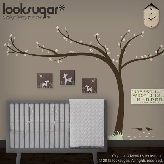 0071 - Cherry Blossom Tree Decal - Modern Home / Office - Nursery Wall Decals - Children Wall Decal - Children wall stickers