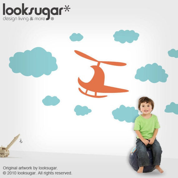Children Wall Decals with Clouds & Helicopter for Baby Nursery / Playroom - 0069