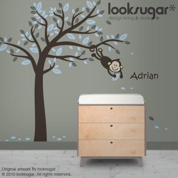 Tree Wall Decal - Monkey Tree Wall Decal w/ personalized decal - 0054