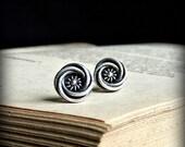 Silver knot earrings, sterling silver earring stud, oxidized earrings, silver round stud, rustic earrings, post earring, everyday earrings