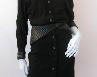 Fantastik VTG CACHE Wool/leather Black fashionable dress