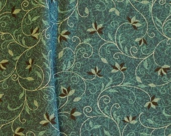 1 YARD, Blue Green Curly Vines Print, Quilting Cotton or Craft Fabric, Blank Textiles, B7