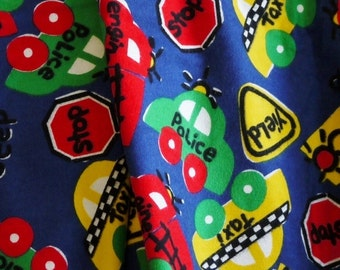Blue Cars Traffic Print, Quilting Flannel Fabric, Red Green Yellow, half yard, B5