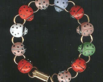 Mid 1900s Glass Lady Bug Button Bracelet