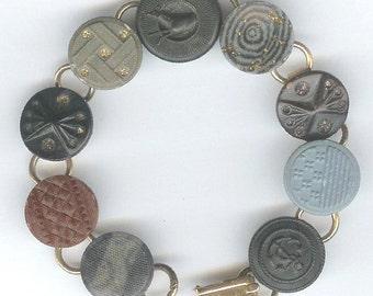 1800s Hard Rubber Button Bracelet