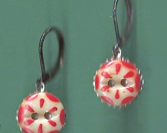 1800's China Stencil Button Earrings