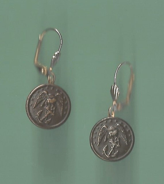 Vintage US Marine Corps Button Earrings