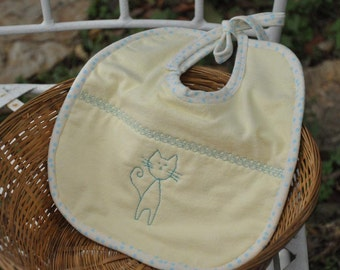 BABY BIB Made of Yellow Absorbent Flannel Fabric for boy or girl
