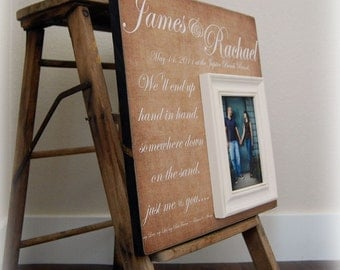 Picture Frame Personalized Picture Frame Wedding Gift Custom 16x16 HAND IN HAND Anniversary Love Father Mother Parents Quote Guest Book