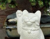 Maneki Neko Lucky Cat Long Tail Sculpture by Tyber Katz