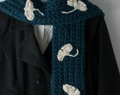 """Ginkgo Scarf, Ginko Scarf, Gingko Scarf - """"Falling Leaves"""" Teal, White - Hand Knit Wool, Mohair, Cotton"""