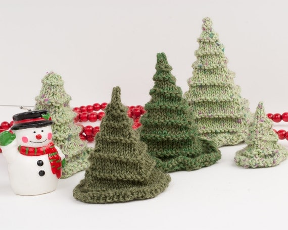 Knitted Xmas Tree Decorations Patterns : Items similar to Christmas Tree, Toy Tree Knitting Pattern PDF - 3D Evergreen...