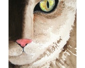 Watercolor Cat - I've Got My Eye on You - 5x7 inch Signed Fine Art Print - cat watercolor painting cat's eyes