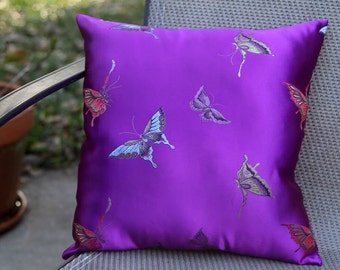 Embroidered Purple Butterfly Pillow, Pillow with Butterflies, Embroidered Silk Pillow, Purple Throw Pillow