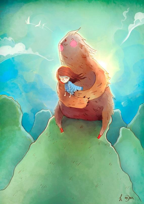 To the Wind - A4 print - sloth beast friend friendly girl girls' room decor sweet breeze cloud love nature bird sky green blue turquoise