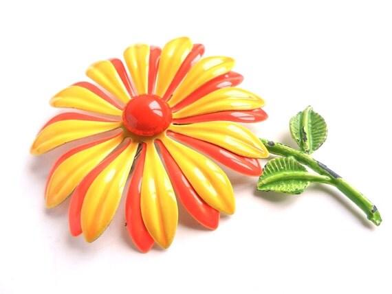 Vintage Large Enamel Flower Brooch - Bright Yellow & Orange Daisy Pin / Mod Sunshine