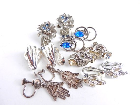 Clip On Earring Lot - 6 Pairs of Silver Tone Earrings - Clear & Blue Rhinestones / Lucky Lot