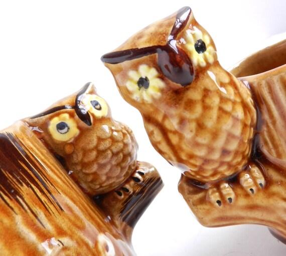 Vintage Owl Cups -  1970s Sugar & Creamer Ceramic Serving Set / Brown Retro Birdies