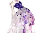 Orchid Fashion Illustration -- watercolor fashion sketch art print