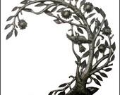 "Metal Wall Art -Curved Tree & Birds Metal Wall Hanging,  Haitian Recycled Steel Drum Art, Haitian Metal Art, Outdoor Garden Art- 24"" - 1663"