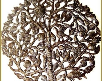 "Metal Wall Art, Tree of Life 34"",  Haitian Art, Steel Drum Metal Art, Haitian Art,  Metal Wall Hanging - Tree Art, Tree Wall Decor -  444"