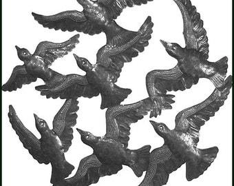 "Metal Wall Hanging, Flock of Birds Metal Wall Art, Haitian Recycled Steel Drum, Garden Art. Metal Home Decor, Metal Art of Haiti - 24"" - 743"