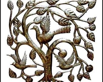 "Metal Art Wall Decor - Birds in Tree - Metal Art, Haitian Steel Drum Wall Decor - Metal Bird Art, Metal Wall Art, Haitian Art - 17"" - 1643"