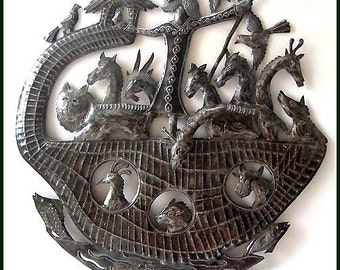 "Christian Metal Wall Art - Noah's Ark Metal Art Wall Hanging -  Bible - 24"" Haitian Steel Oil Drum Wall Decor -Handcrafted Metal Art - 554"