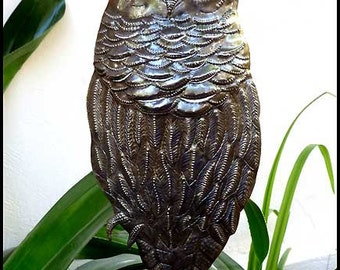 "Owl Metal Plant Stake - Garden Plant Stick 6 1/2""x 13""- Metal Plant Marker - Outdoor Garden Decor - Steel Drum Art from Haiti - PS-1793"