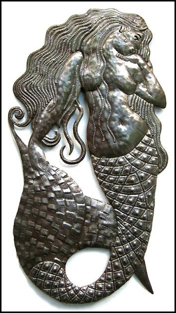 "Mermaid Metal Wall Decor - Handcrafted in Haiti from Recycled Steel Oil Drums, Mermaid Wall Hanging, Metal Art Garden Decor - 34"" - H-511-34"