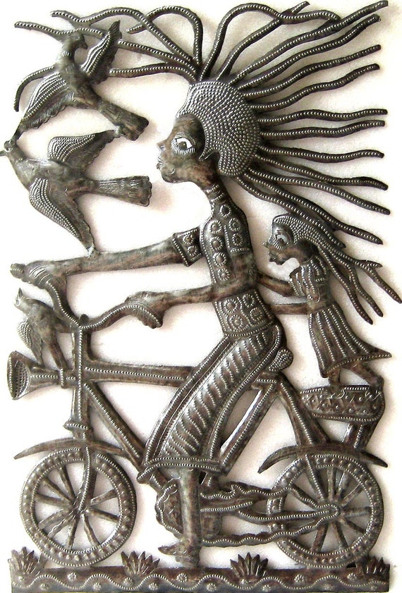 """Metal Wall Art - Bicycle Mama with Child, Metal Wall Decor, Garden Art, Haitian Recycled Steel Drum - Metal Art Wall Hanging - 11"""" x 17""""-562"""