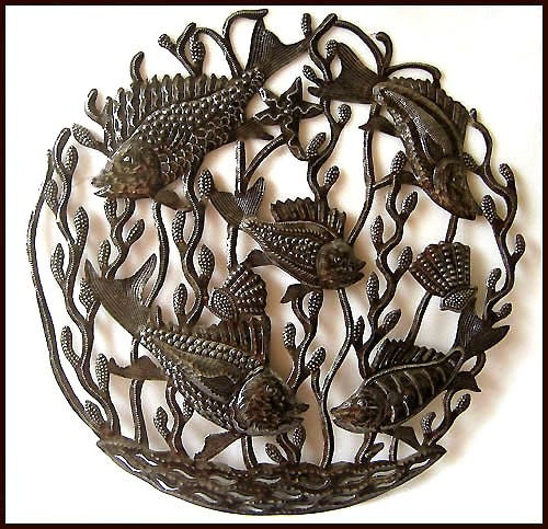 Metal wall hanging fish metal art metal wall art metal art for Metal fish art wall decor