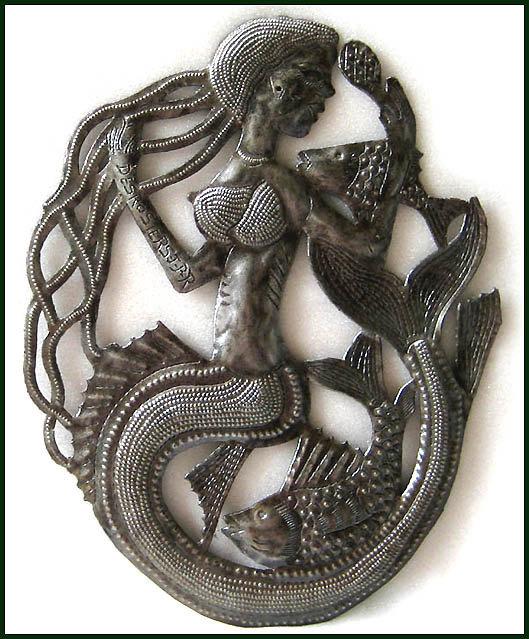 Mermaid Metal Art Wall Hanging Metal Art Haitian Steel Oil