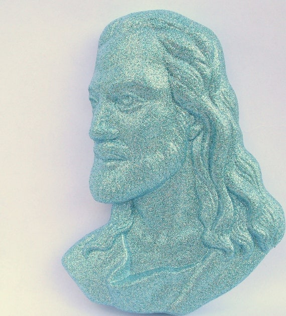 Glitter Sparkle Jesus Christ Plaque - painted upcycled shabby cottage chic - sky baby blue - pop art religious icon