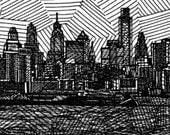 Philadelphia City Skyline - Limited Edition Original Signed Print Drawing no. 7/75 - Philly Skyline