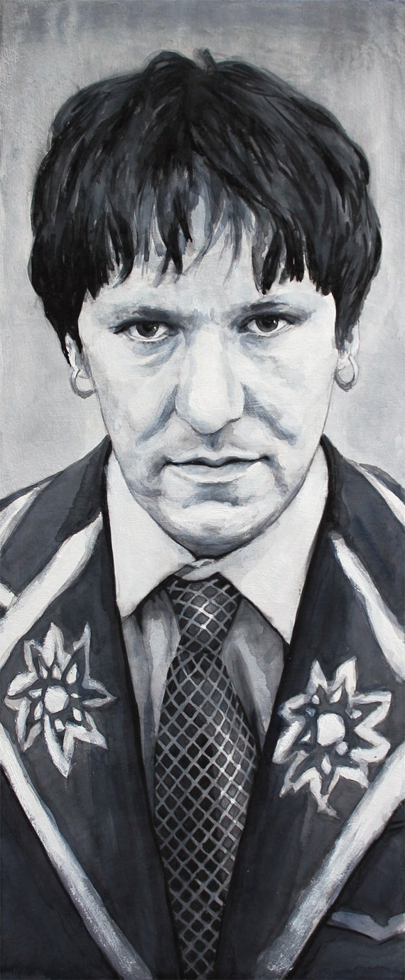 Elliott Smith in ink and paint on panel
