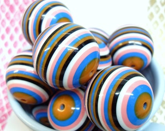 2x Massive 28mm Blue, Pink, White, Brown and Black Stripe Resin Juicy Globe beads