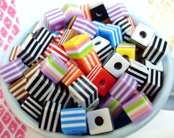 25x 10mm Resin Cube Stripe  beads in multi colours