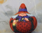 Esther the White Witch, gourd, Halloween, cat, raven, 7 inches tall