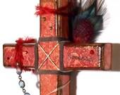 Decoupaged Wood Cross Decorated Wall Cross Mixed Media Crucifix Catholic Christian Art Remembrance Dark Red