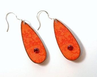 Orange Earrings Tangerine Decoupaged Earrings Teardrop Dangle Swarovski Crystal Boho Jewelry