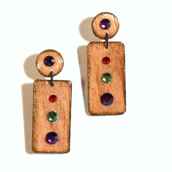 Wood Drop Earrings Natural Wood Jewelry Crystal Purple Green Red Geometric Jewelry Gifts for Her 10 and Unde