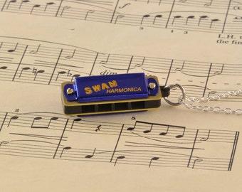 Working Harmonica Necklace - Harmonica Lover Gift - Blue Harmonica Jewellery