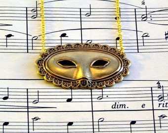 Gold Masquerade Mask Necklace, Theatre Mask Jewellery, Opera Lovers Gift