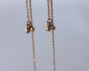 rose gold threaders. tiny ball clusters. delicate chain. 18k pink gold vermeil • • katia chain earring