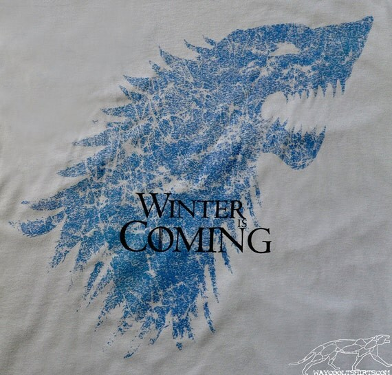 GAME Of THRONES Winter Is Coming Tshirt  - Unisex fitted Silver Tee for Men or Women