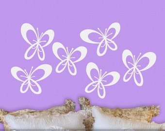 Butterfly Decor Wall Decal Decorations: 6 Whimsical Flying Butterflies for Your Bedroom or Any Room Decor (0177a0v)