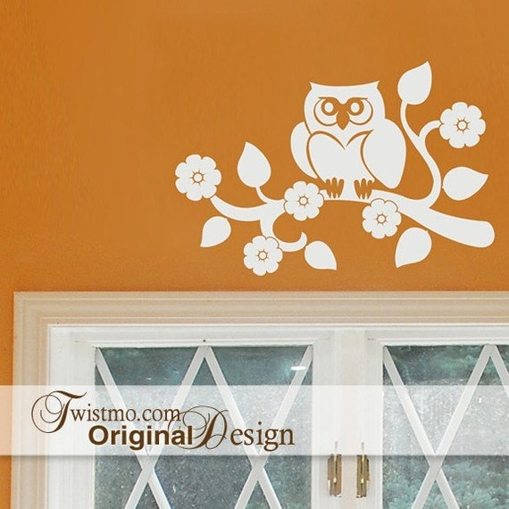 Baby Nursery Owl Wall Decal, Woodland Owl Nursery, Owl Lovers Gift, Wise Old Owl on Tree Branch with Flowers (00169c1v)