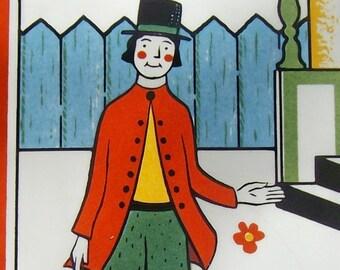 Kitsch 60s Berggren tile House Proud Fella w Swedish Folk Rosmaling